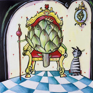Artichoke Queen with Cat Tile Trivet