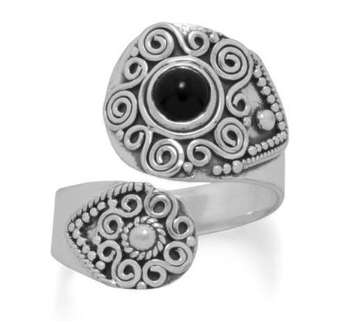 Sterling Silver Black Onyx Wrap