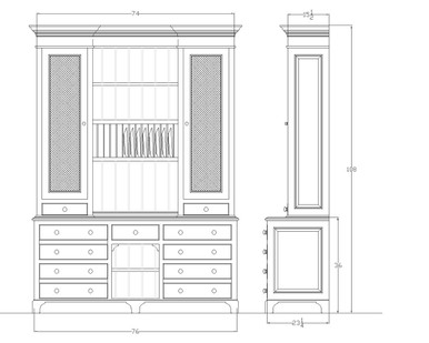 Shop drawing of Dinsmore Dresser with wire screen door panels and plate rack.