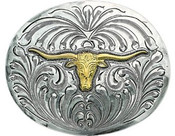 Bar V Western Mens Belt Buckle Drover Trophy Longhorn Silver- 380-020