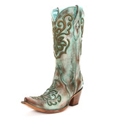 Corral Ladies Tan & Turquoise Cord Stitch Boots- C2990