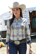 Cruel Girl Arena Fit Plaid Western Shirt with Lace Navy and Grey - CTW9382001