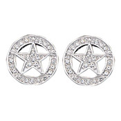 Clear Rhinestone Studded Star Earrings  - ER810CZ