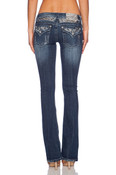 Miss Me Silver Leather Wings Insert Boot Cut Jeans  - JP5974B6