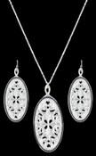 Montana Filigree Silver Ellipse Jewelry Set - JS2623