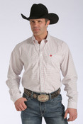 Cinch Western Shirt Mens L/S Pocket Logo Button White  - MTW1104151