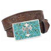 M&F Turquoise and Silver Cross Buckle Tooled Leather Belt - N3423002