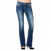 Miss Me Denim Jeans Womens Fancy Border Flap Bootcut Med Wash - XP7547B