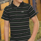 Boys' Cinch Black with Green/White Stipe Polo - MTK7600003