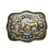 Scalloped Praying Cowboy in Antique Gold and Silver Plate Buckle - 716