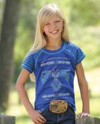 CRUEL GIRL KID'S THUNDERBIRD BLUE JERSEY RAGLAN TEE SHIRT - CTK3510002