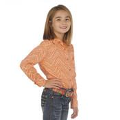 CRUEL GIRL PEACH CHEVRON PEARL SNAP SHIRT - CTW3300011