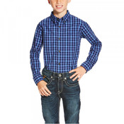 Ariat Pro Boys Owensville Navy Plaid Long Sleeve Button Up Performance Shirt - 10020359