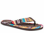 BROWN MULTICOLOR SOUTHWEST FABRIC ON FOOT AND STRAP - THONG FLAT Brown Southwest Fabric on Strap & Sole Edge * Thong Sandal Flat * Eva Bottom * Fabric Outline On Eva Footbed