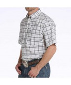 Cinch ArenaFlex Men's White Plaid Short Sleeve Button Shirt