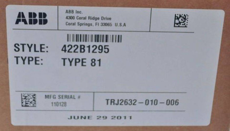 New ABB 422B1295 Circuit Shield Type 81 Frequency Solid State Relay