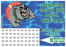Swimming Scratch off Fundraiser Card will raise $100-$10,000.  Scratch off Card, Scratch off Fundraiser, Fundraising, School, Sports, Swim.
