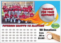 Baseball Scratch off Fundraiser Card will raise $100-$10,000.  Scratch off Card, Scratch off Fundraiser, Fundraising, Baseball Camp, Travel Ball, Baseball, Donations, Fundraiser.