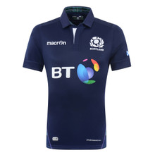 Official Scotland Rugby home match jersey for the 2015/2016 season. Navy with tartan pattern. Slim fit with reinforced stitching to provide high tear-resistance. Fitted with mesh inserts to enhance breathability in strategic points.