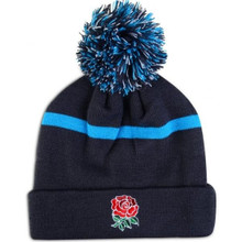 England Striped Bobbled Beanie - Arctic Blue