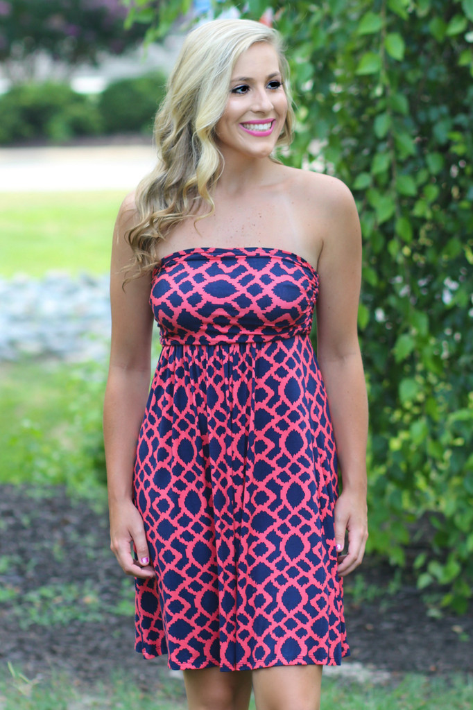 Navy and Coral | Boutique Dress | Lavish Boutique | Hourglass lilly