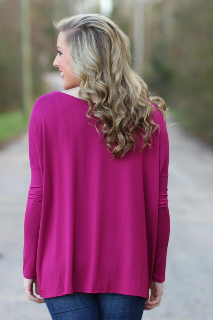 Piko Long Sleeve Top: Fuchsia