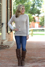 Love Of Lace Sweater: Taupe