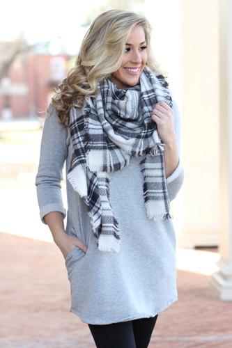 Begins With You Sweatshirt Dress: Heather Grey
