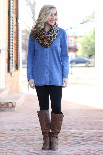 Walk My Way Tunic: Denim