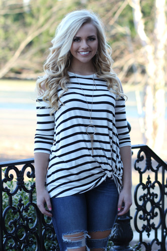Knot Cold Shoulder Top: Ivory/Black