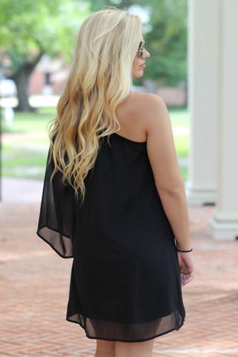 Emerson One Shoulder Dress: Black