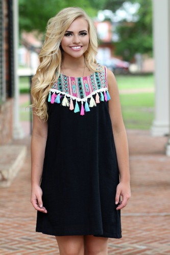 Tassel Dress: Black