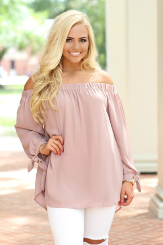 The Emma Cold Shoulder Top: Mauve