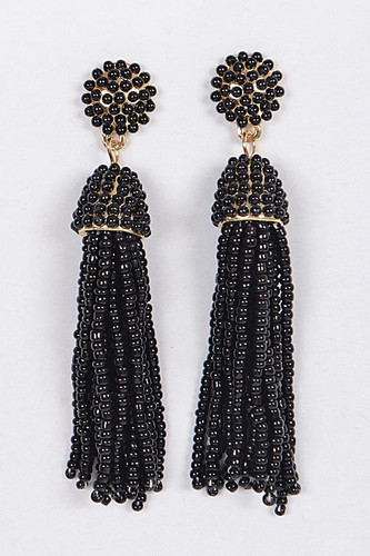 Tassel Earrings: Black
