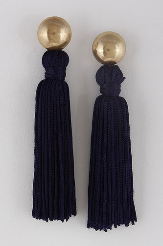 Flaunt It Tassel Earrings: Navy