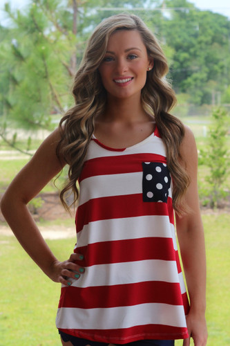America Tank Top | Red White and Blue | Bow | Fourth of July | Lavish Boutique