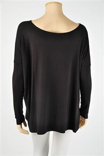 Piko Long Sleeve Top: Black