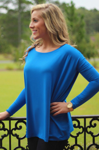 Piko Long Sleeve Top: Royal
