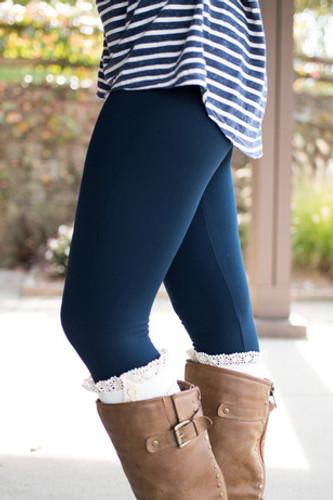 Fleece Lined Leggings: Navy
