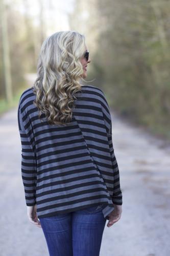 Piko Long Sleeve Top: Black/Gray
