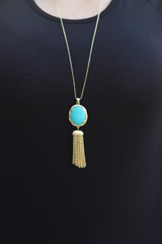 Around Here Necklace: Turquoise