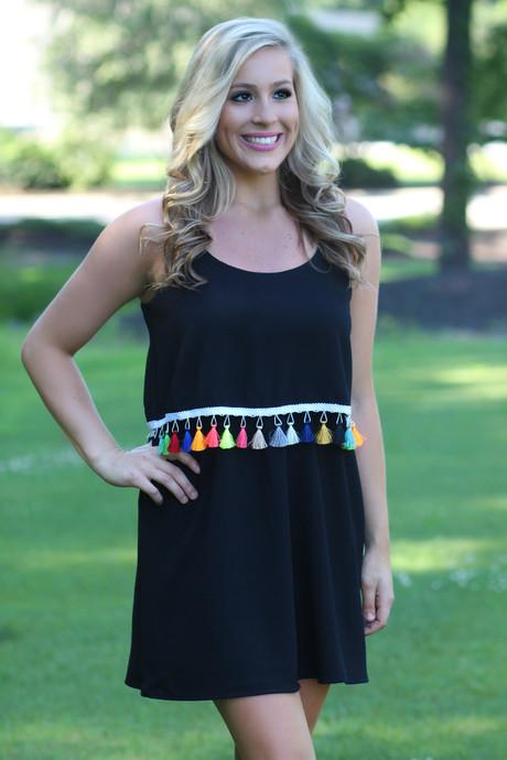 Black Tassel Dress   Lavish Boutique