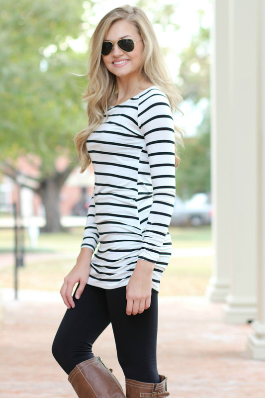 Side Cinched Tunic: Black Striped