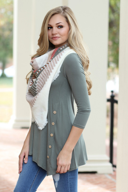 Cute As A Button Tunic: Olive