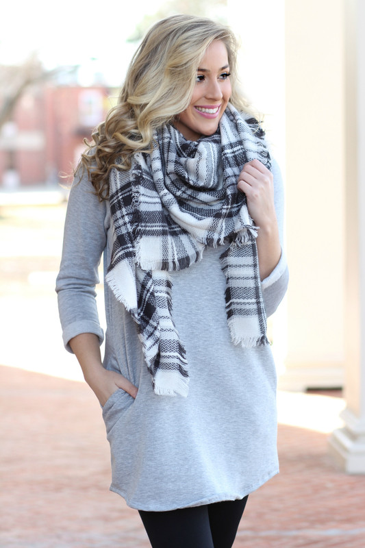 Begins With You Sweatshirt Dress: Heather Grey
