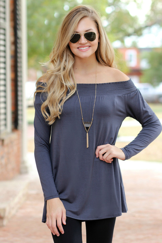 Chic Off The Shoulder Tunic: Charcoal