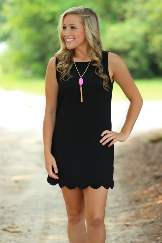Finders Keepers Dress | Black | Scalloped | Shift Dress |  Lavish Boutique | Pink Lily Boutique