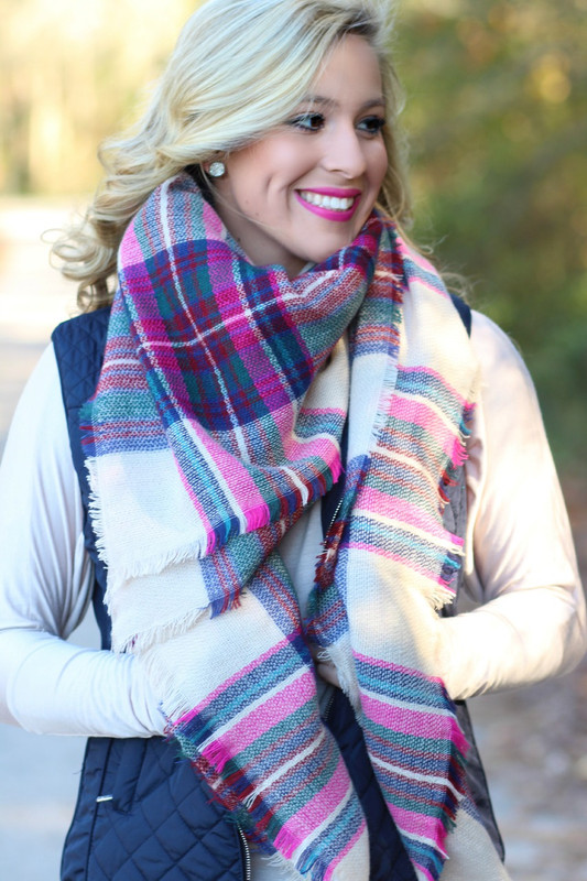 Time & Time Again Blanket Scarf: Pink