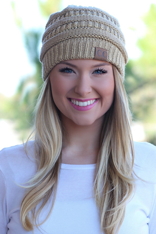 Chilly Day Beanie: Metallic Gold