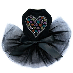 Heart with Multicolor Rhinestud Hearts black dog tutu for large and small dogs.